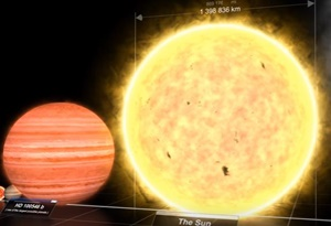 星の大きさを順番に比較する動画...